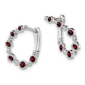 14k White Gold Garnet Teardrop Hoop Earrings